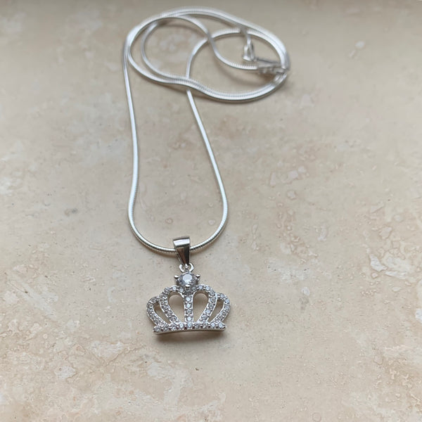 Sterling Silver CZ Crown Necklace, Silver Necklace, CZ Necklace