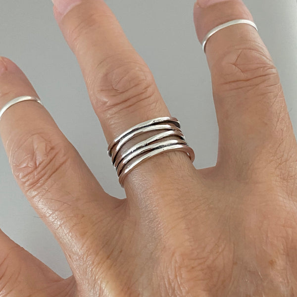 Sterling Silver Wide Band Wrapped Ring, Silver Rings, Boho Ring, Silver Band