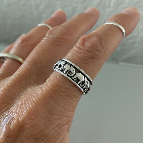 Sterling Sterling Marching Herd of Elephants Ring, Spinner Ring, Silver Ring, Good Luck Ring