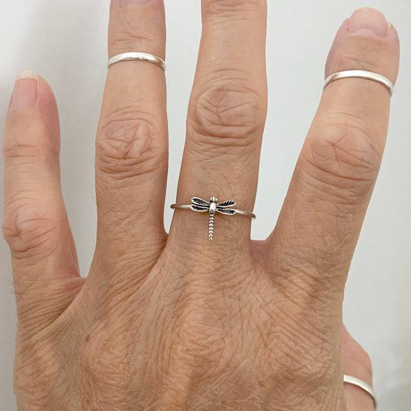 Sterling Silver Small Dragonfly Ring, Dainty Ring, Silver Ring, Spirit Ring