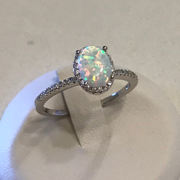 Sterling Silver Oval White Lab Opal with CZ Ring, Opal Ring, Silver Rings