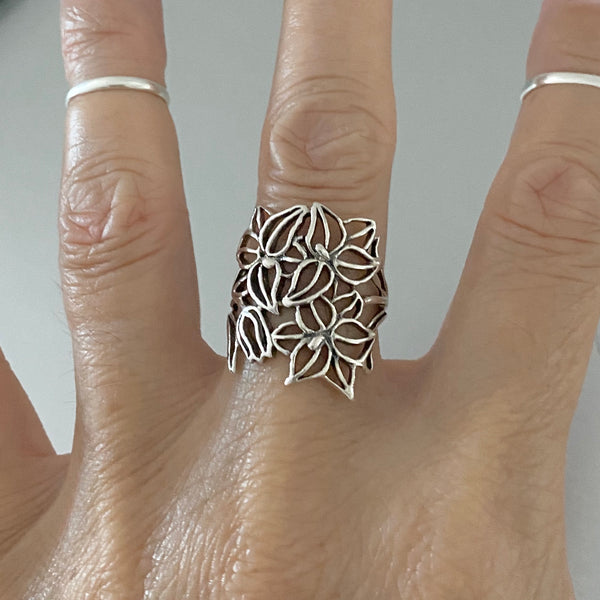 Sterling Silver Silhouette Flower Ring, Silver Ring, Boho Ring, Statement Ring