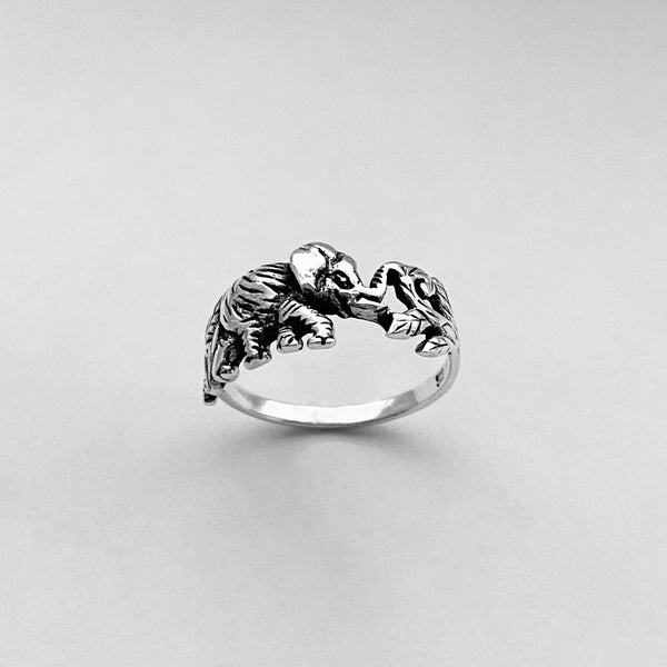 Sterling Sterling Elephant Eating Leaves Ring, Silver Ring, Elephant Ring