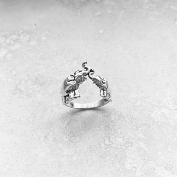 Sterling Sterling Kissing Elephant Ring, Silver Ring, Rings, Elephant Ring