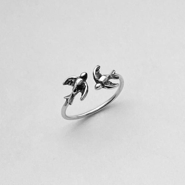 Sterling Silver Flying Sparrows Ring, Bird Ring, Spirit Bird Ring, Silver Ring, Religious Ring