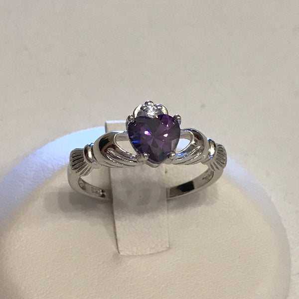 Sterling Silver Claddagh with Amethyst CZ Heart Ring