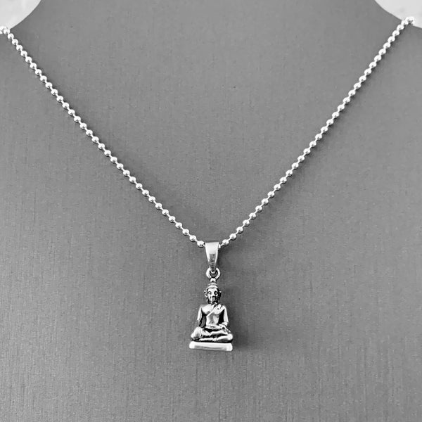 Sterling Silver Small Buddha Necklace, Silver Necklace, Boho Necklace, Yoga Necklace