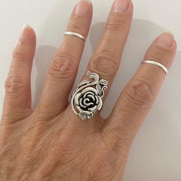 Sterling Silver Large Rose Ring with Branches and Leaves, Boho Ring, Statement Ring, Flower Ring