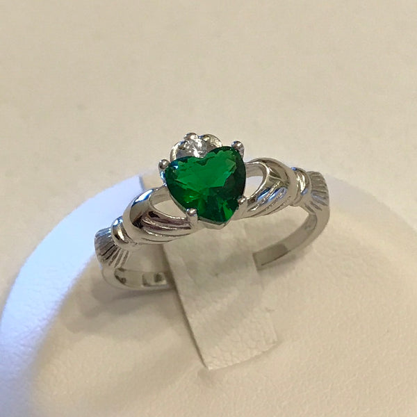 May Birthstone Sterling Silver Claddagh with Emerald CZ Heart Ring