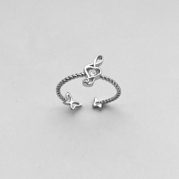 Sterling Silver Music Note and Butterfly Ring with CZ, Music Ring, Silver Ring, Boho Ring