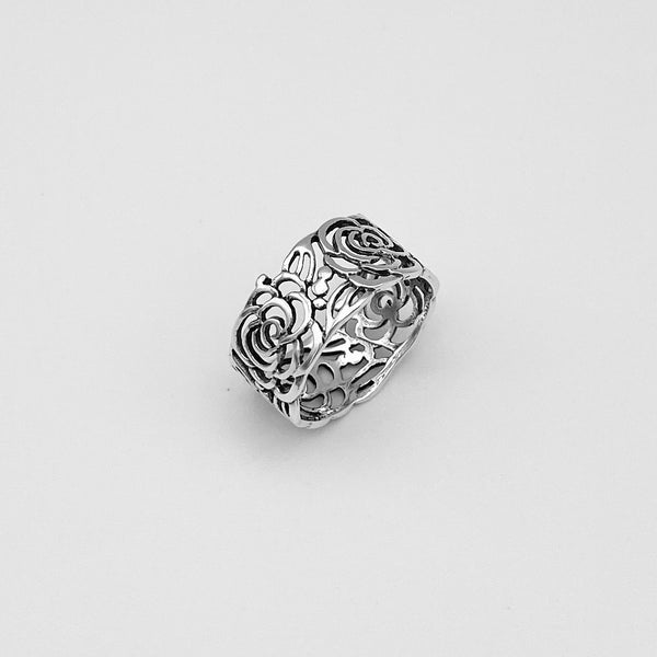 Sterling Silver Wraparound Roses Ring, Flower Ring, Silver Ring, Boho Ring, Rose Ring