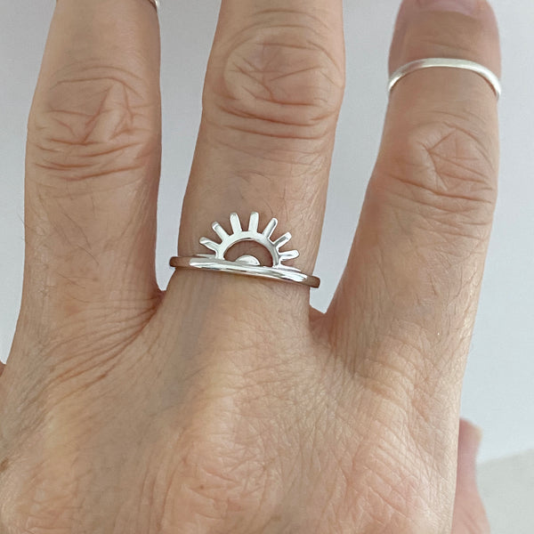 Sterling Silver Sunrise Ring, Silver Ring, Sun Ring, Sunshine Ring