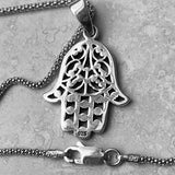Sterling Silver Flower Hamsa Necklace, Silver Necklace, Boho Necklace, Hand Of God Necklace