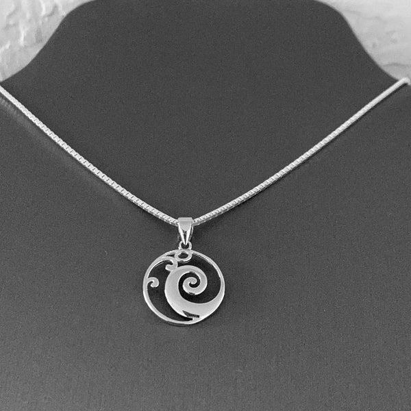 Sterling Silver Medium Round Wave Necklace, Silver Necklace, Waves Necklace, Surf Necklace