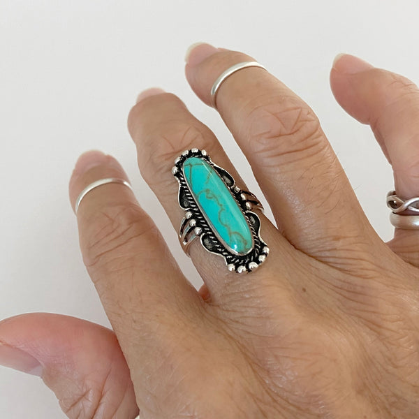 Sterling Silver Boho Turquoise Ring, Silver Rings, Statement Ring, Boho Ring