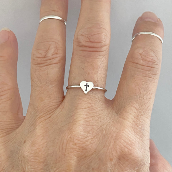 Sterling Silver Tiny Cross in Heart Ring, Dainty Ring, Cross Ring, Religious Ring