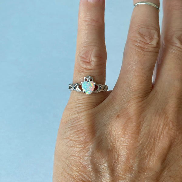 Sterling Silver White Lab Opal Heart Claddagh Ring, Silver Rings, Friendship Ring, Opal Ring