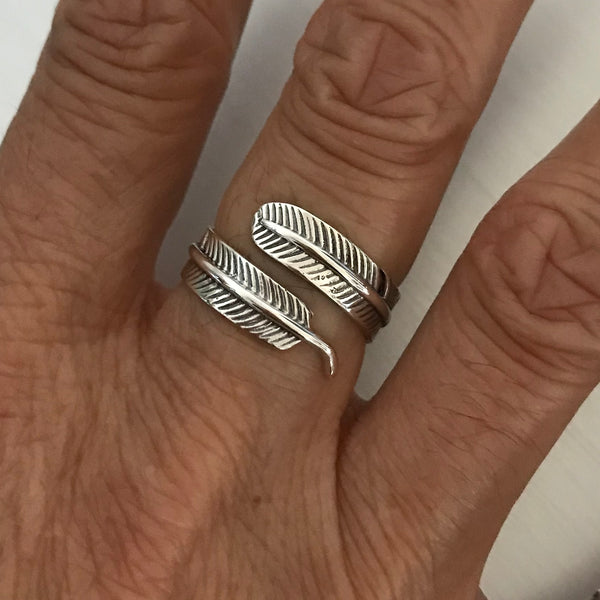 Sterling Silver Wraparound Feather Ring, Silver Ring, Bird Ring, Angels Wing