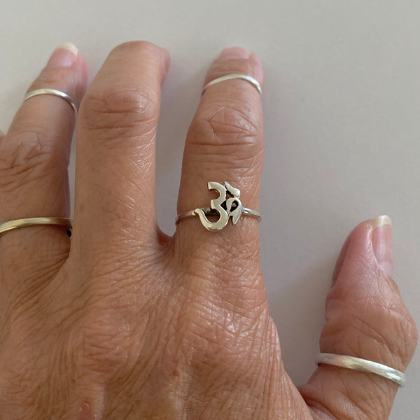 Sterling Silver Solo OM Sign Ring, Yoga Ring, Silver Rings, OM Ring