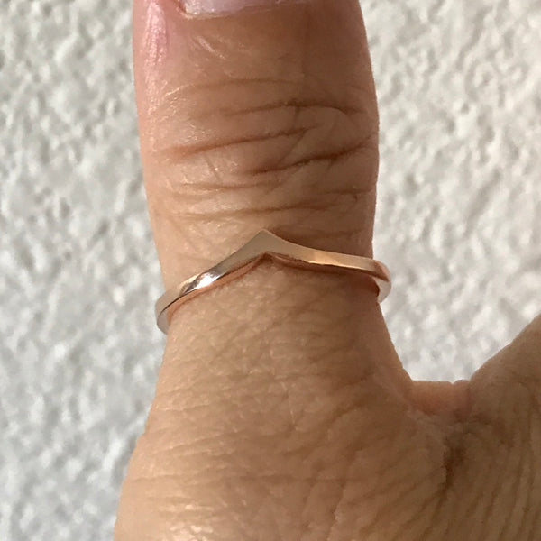 Rose Gold Plated Sterling Silver Chevron Ring, Silver Ring, Rings