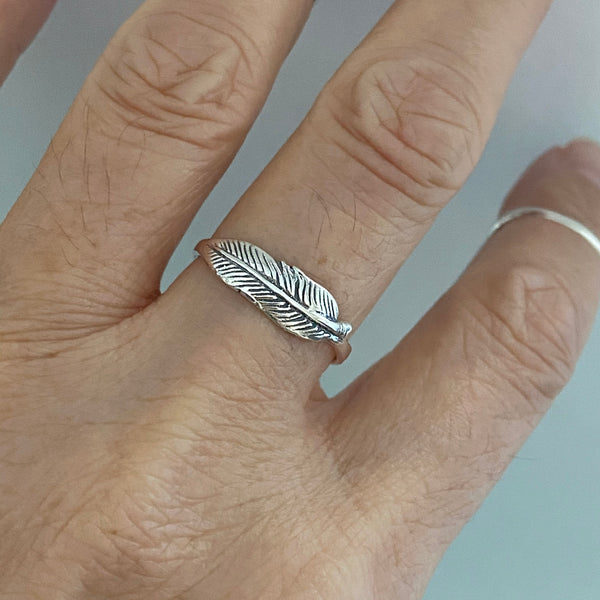 Sterling Silver Small Feather Ring, Silver Ring, Angels Wing, Religious Ring
