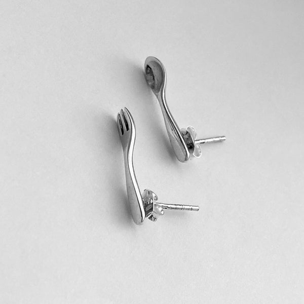 Sterling Silver Fork and Spoon Earrings, Chefs Earrings, Silver Earrings, Stud Earrings