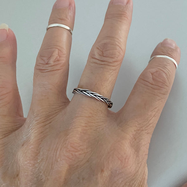 Sterling Silver Bali Rope Braid Ring, Silver Ring, Silver Band, Stackable Ring