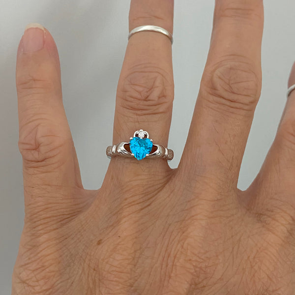 Sterling Silver Blue Topaz CZ Heart Claddagh Ring, Silver Ring, Love Ring, Irish Ring, December Birthstone Ring