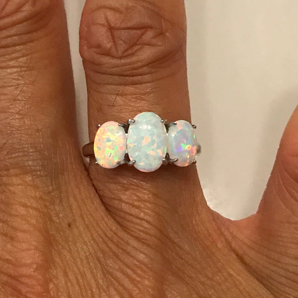 Sterling Silver 3 Oval White Lab Opal Ring