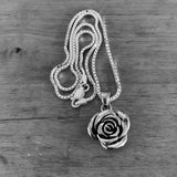 Sterling Silver Heavy Rose Necklace, Silver Necklace, Flower Necklace
