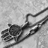 Sterling Silver Hand of God Necklace, Silver Necklace, Boho Necklace, Hamsa Necklace