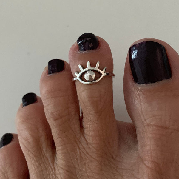Sterling Silver Eye Toe Ring, Religious Ring, Silver Ring