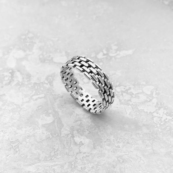 Sterling Silver Link Ring, Unisex Ring, Silver Ring, Wedding Band