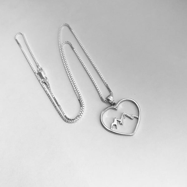 Sterling Silver Heart Mountain Necklace, Hiking Necklace, Silver Necklace, Love Mountain Necklace