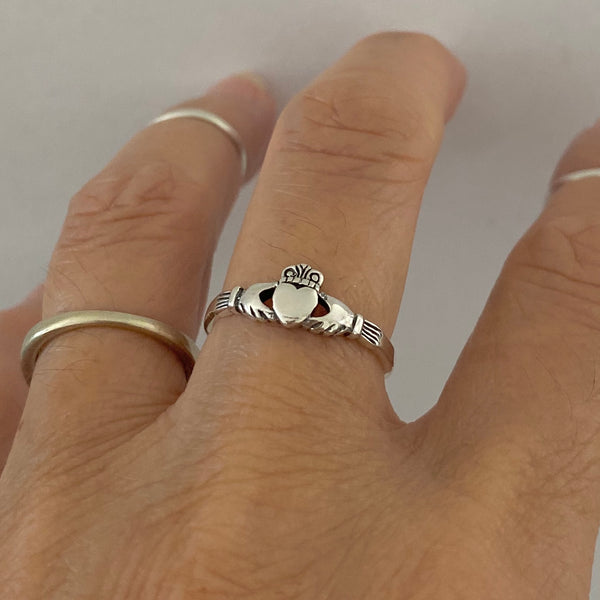Sterling Silver Small Claddagh Ring, Loyalty Ring, Irish Ring, Silver Rings, Heart Ring