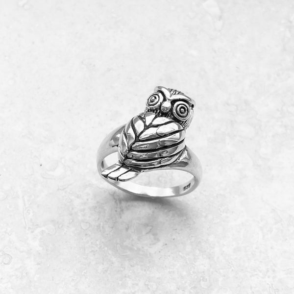 Sterling Silver Heavy Owl Ring, Silver Ring, Feather Ring, Bird Ring, Religious Ring