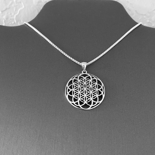 Sterling Silver Large Mandala Necklace, Silver Necklace, Flower Necklace, Boho Necklace