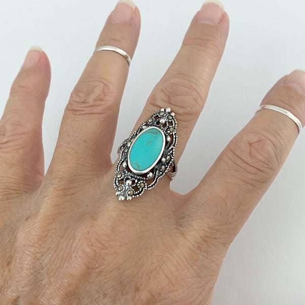 Sterling Silver Marcasite and Turquoise Ring, Silver Ring, Boho Ring, Statement Ring