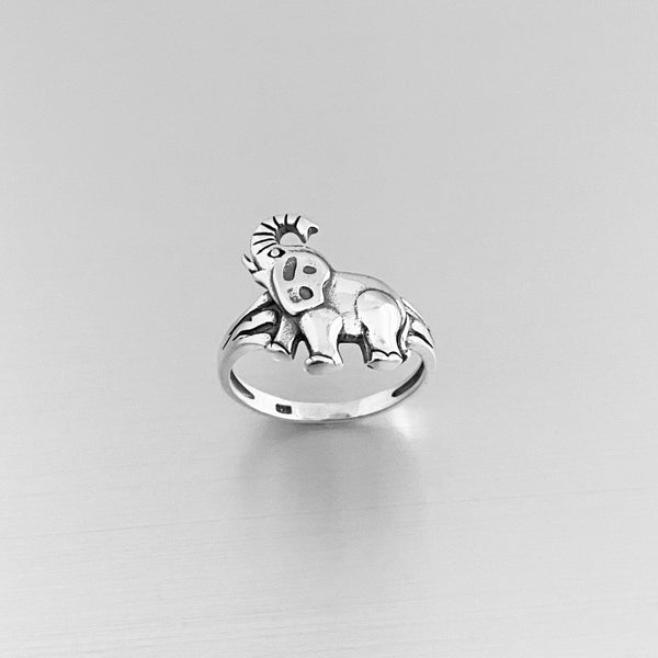 Sterling Silver Lucky Elephant Ring, Silver Ring, Animal Ring, Yoga Ring