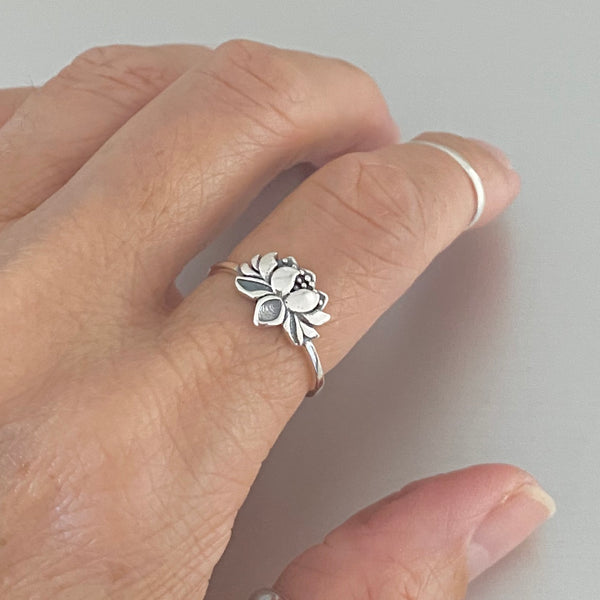 """NEW"" Sterling Silver Small Blooming Lotus Ring, Silver Rings, Flower Ring, Spirit Ring"
