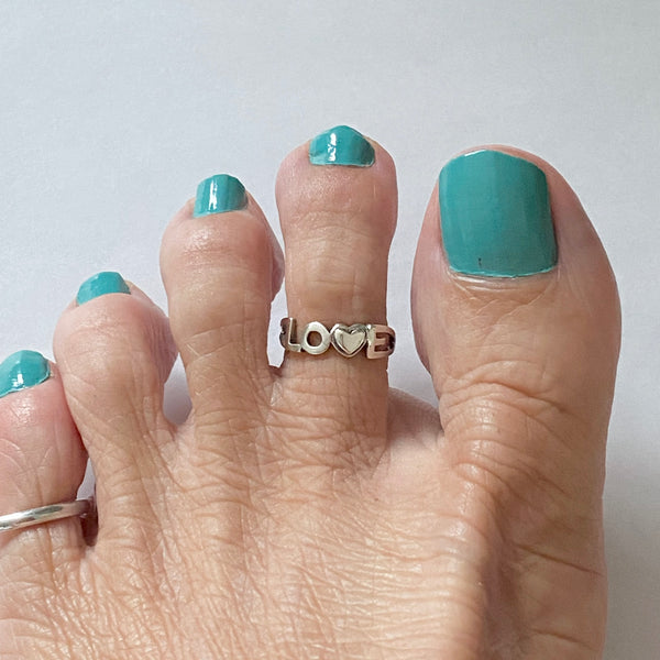 Sterling Silver LOVE Toe Ring, Silver Ring, Love Ring, Heart Ring