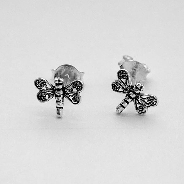 Sterling Silver Tiny Filigree Dragonfly Earrings, Silver Earrings, Stud Earrings, Spirit Earrings