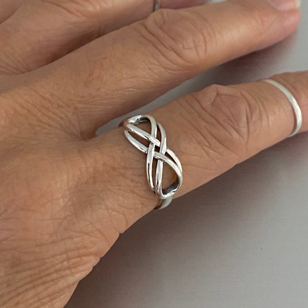 Sterling Silver Double Infinity Ring, Silver Ring, Love Ring, Promise Ring