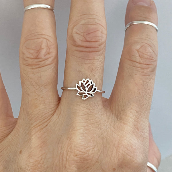 Sterling Silver Small Lotus Flower Ring, Silver Rings, Lotus Ring, Spirit Ring