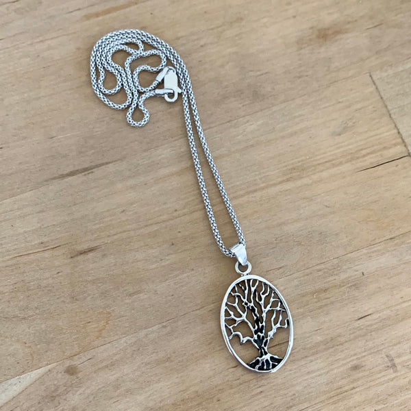 Sterling Silver Oval Tree Of Life Necklace, Silver Necklace, Fortune Necklace, Tree Necklace