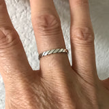 Sterling Silver Rope Ring, Stackable Ring, Silver Rings, Band