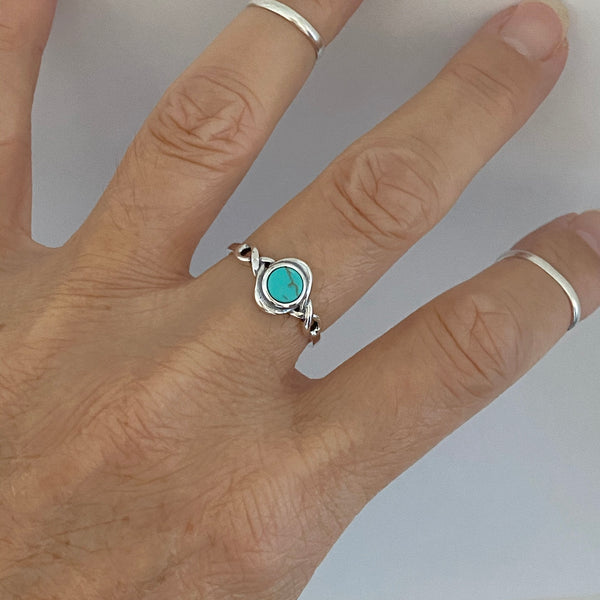 Sterling Silver Round Turquoise Ring, Boho Ring, Stone Ring, Silver Ring