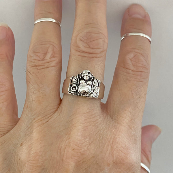 Sterling Silver Happy Buddha Ring, Silver Ring, Boho Ring, Yoga Ring, Religious Ring