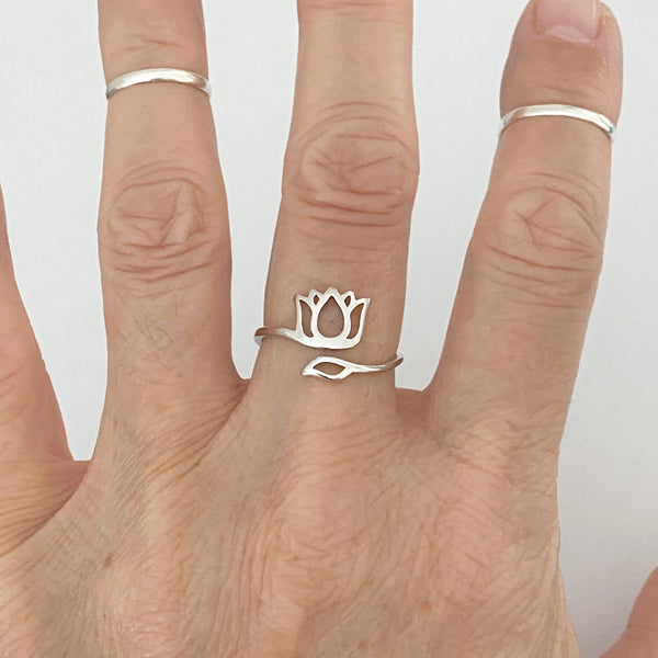 Sterling Silver Wraparound Lotus Ring, Flower Ring, Silver Rings, Yoga Ring