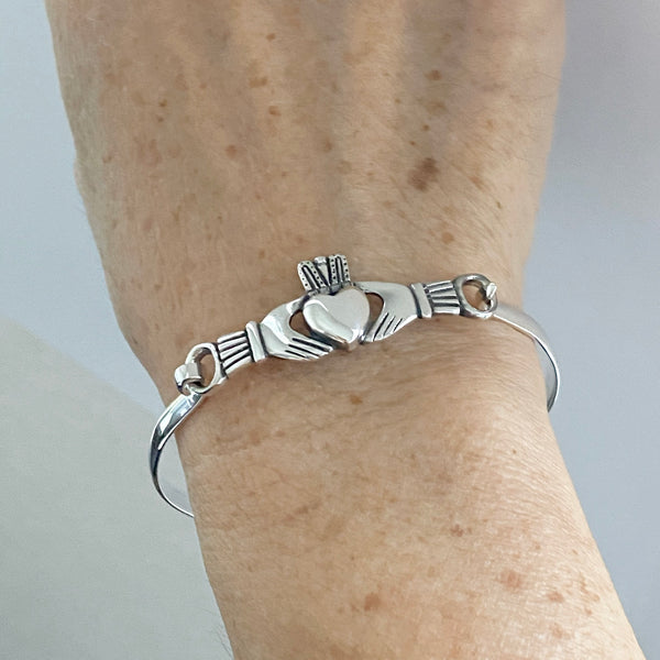 Sterling Silver Claddagh Bangle, Silver Bracelet, Claddagh Bracelet, Silver Bangle, Boho Bracelet